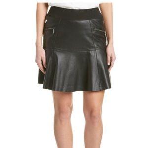 Nicole miller artelier black leather mini skirt